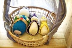 Handmade Waldorf soft toys on basket Royalty Free Stock Photography