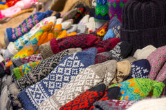 Handmade warm clothes for sale at Christmas market Stock Photography