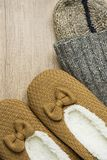 Handmade Warm Knitted Socks From Coarse Wool Yarn Fluffy Fur Slippers on Wood Background. Winter Autumn Eco Fashion Cloths Kinfolk Stock Photos