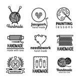 Handmade warsztata loga cienki kreskowy set ilustracji