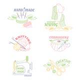 Handmade warsztatowy logo ustawiający dla malować przecinającego zaszywanie szy i dzia Zdjęcie Stock