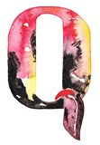 Handmade watercolor alphabet design Stock Photos