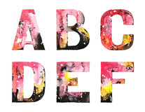 Handmade watercolor alphabet design Stock Image