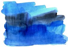 Handmade watercolor blue abstract background spray Stock Image