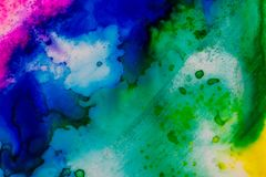 Watercolor with blue and green. Handmade watercolor with blue and green. Useable as a background or texture Stock Photo