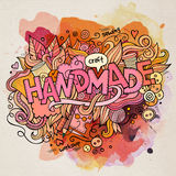 Handmade watercolor cartoon hand lettering and Royalty Free Stock Photography