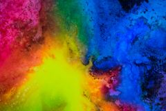 Watercolor with rainbow galaxy splatter. royalty free stock image