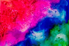 Watercolor with red, purple, blue and green. Handmade watercolor with red, purple, blue and green. Useable as a background or texture Royalty Free Stock Photo