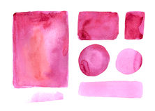 Handmade watercolor texture collection of pink paint Stock Photo