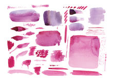 Handmade watercolor texture collection of pink paint Royalty Free Stock Images