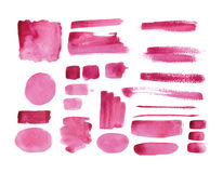 Handmade watercolor texture collection of pink paint Stock Photography