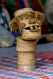 Handmade weaving bamboo basket Applied to play toy. Folk Art of Northeastern Thailand Royalty Free Stock Photo