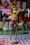 Handmade weaving bamboo basket Applied to play toy. Folk Art of Northeastern Thailand Stock Photos