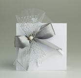 Handmade wedding card. On a gray background Stock Images