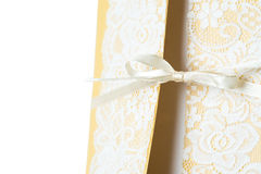 Handmade wedding card on a white background Royalty Free Stock Photo
