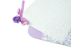 Handmade wedding card on a white background Stock Photography