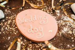 Handmade wedding cookie decoration closeup royalty free stock image