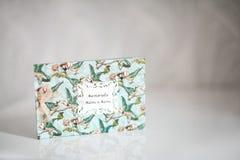 Handmade wedding invitations with fuchsia ribbon Royalty Free Stock Photo