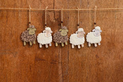 Handmade White and Black Sheep Hanging Decoration Royalty Free Stock Photos