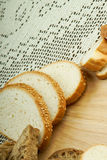 Handmade white bread on a tablecloth Royalty Free Stock Photography