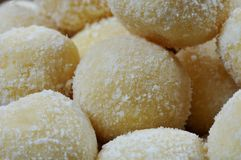 Close-up of a pile of white chocolate truffles Royalty Free Stock Photo