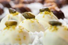 Handmade white chocolates Stock Photo