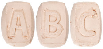 Handmade of white clay letters Stock Image