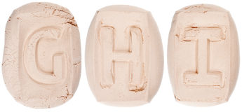 Handmade of white clay letters Stock Photography