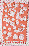 Handmade white crochet frame pattern, knitting, sewing. Homemade backdrop. Mori Girl lace. Creative craft needlework Stock Photo