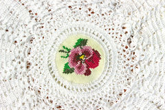 Handmade white lace Stock Images