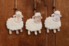 Handmade White Sheep Hanging Decoration Stock Photos