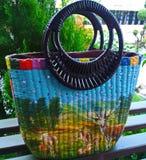 Handmade wicker bag Stock Images