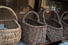 Handmade Wicker Bamboo baskets Royalty Free Stock Images