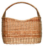 Handmade wicker basket. Manually mastered of light brown rods Stock Photo