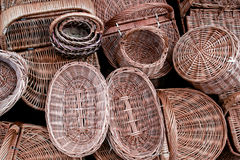 Handmade wicker basket. Wicker baskets in a street market handmade Royalty Free Stock Images