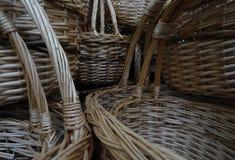 Handmade wicker basket handles detailed Stock Photo