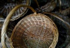 Handmade wicker basket handles detailed Stock Image