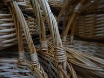 Handmade wicker basket handles detailed Stock Images