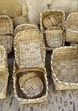 Handmade wicker baskets. Detail of a factory of wicker baskets Stock Images