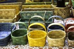 Handmade wicker Baskets Royalty Free Stock Photos