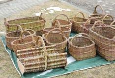Handmade wicker baskets Stock Photography
