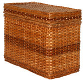 Handmade wicker box. Wove of dark brown rods Royalty Free Stock Images