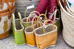 Handmade wicker female bags at french market Stock Photo