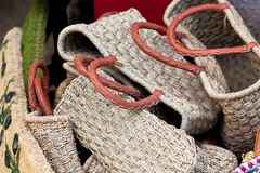 Handmade wicker female bags at french market Royalty Free Stock Photo