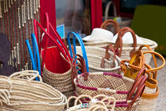 Handmade wicker female bags at french market Stock Images