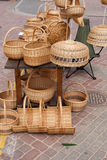 Handmade Wicker items. On the street sale Stock Images