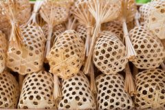 Handmade wicker mini baskets Stock Photos