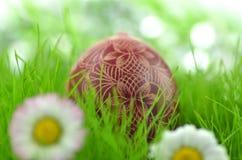 Handmade Wielkanocny jajko na trawie Fotografia Stock