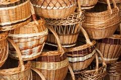 Handmade Willow Wicker Baskets Background Stock Photos
