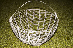 Handmade wire woven basket. Old handmade wire woven basket Royalty Free Stock Photos